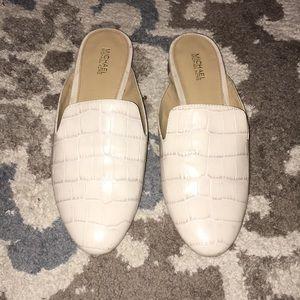 Michael kors alligator print white loafers flats